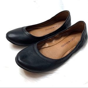 Lucky Brand Emmie Black Leather Ballet Flats